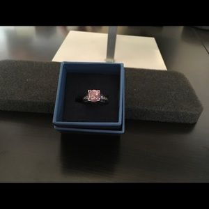 Pink Simulant Ring 5.14CTW Rhodium Plated Size 6